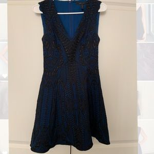 BCBGMAXAZRIA blue and black cocktail dress